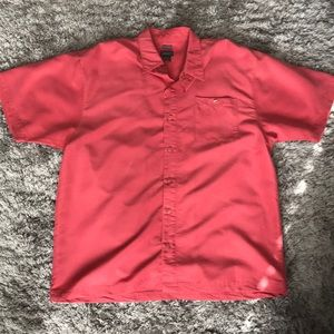 Bruno Sueded salmon color button up shirt.